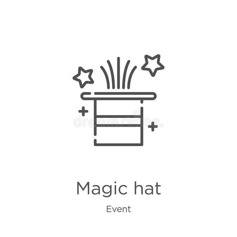 vecteur magique d'icône de chapeau de collection d'événement Ligne mince illustration magique de vecteur d'ic?ne d'ensemble de ch illustration de vecteur