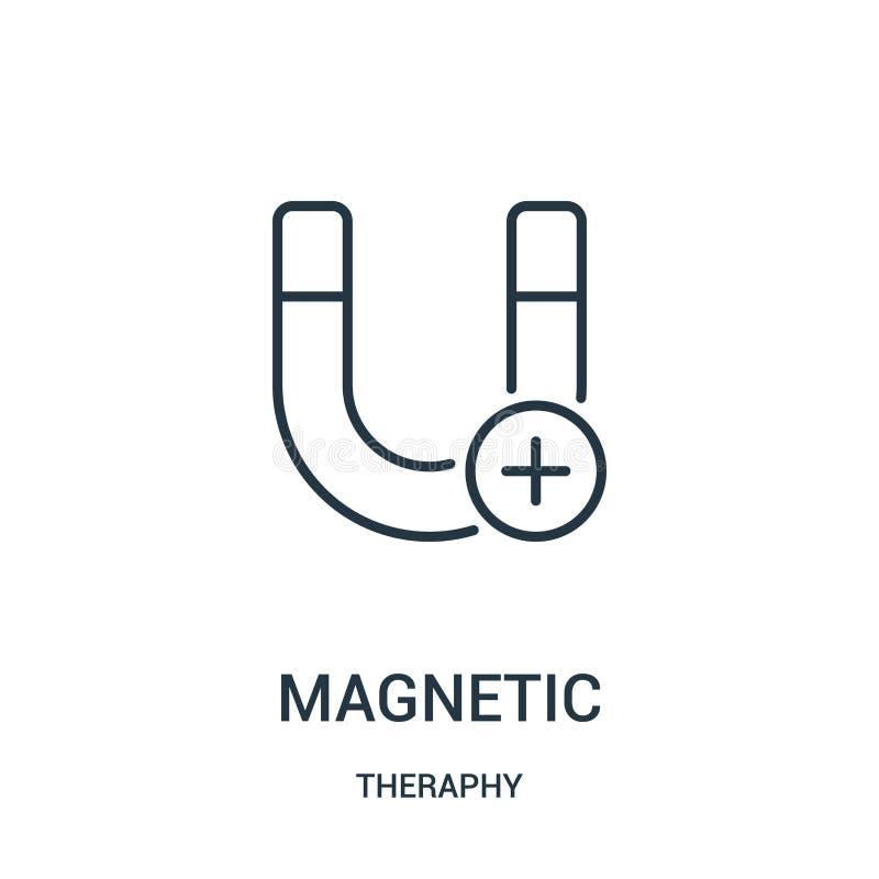 vecteur magnétique d'icône de collection de theraphy Ligne mince illustration magnétique de vecteur d'icône d'ensemble illustration de vecteur