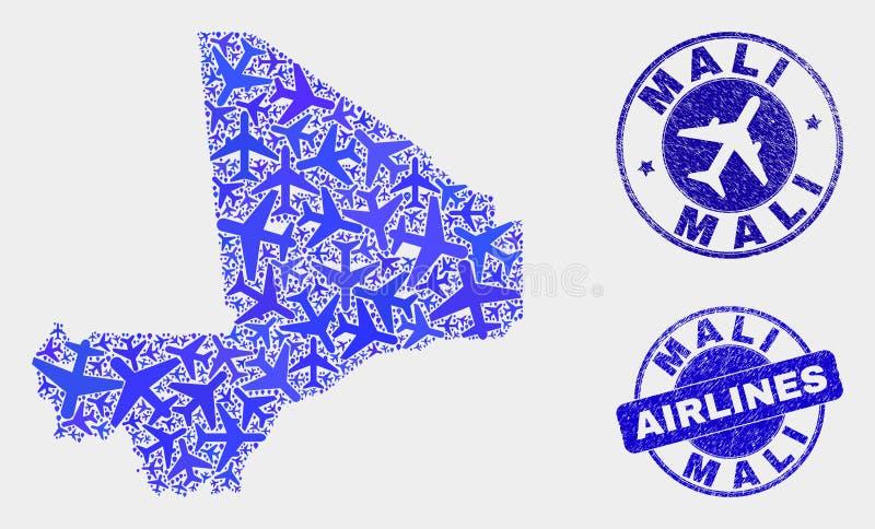 Vecteur Mali Map de composition en avion et joints grunges illustration stock