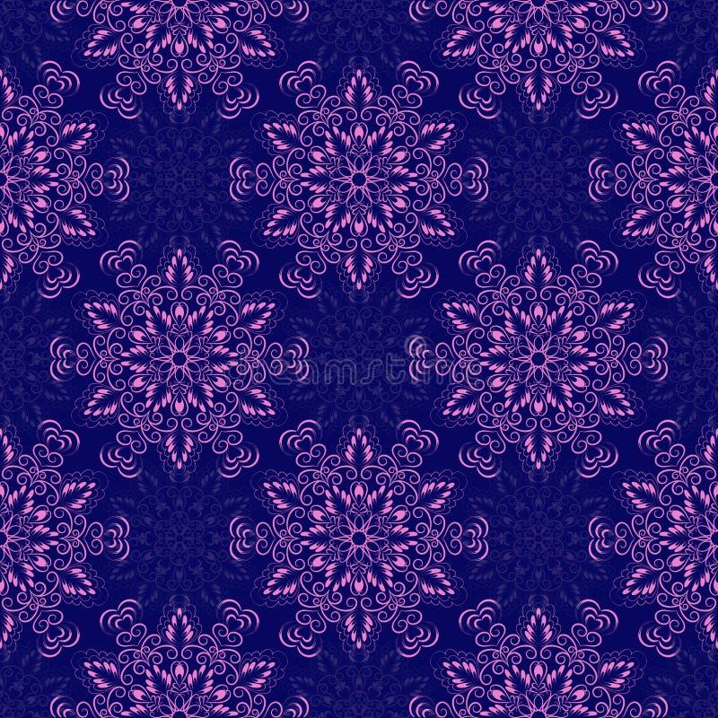 Vecteur Mandala Pattern sans couture au-dessus de bleu-foncé illustration de vecteur