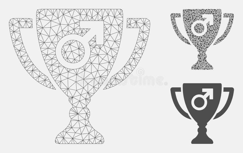 Vecteur masculin Mesh Carcass Model de tasse de récompense de puissance et icône de mosaïque de triangle illustration de vecteur