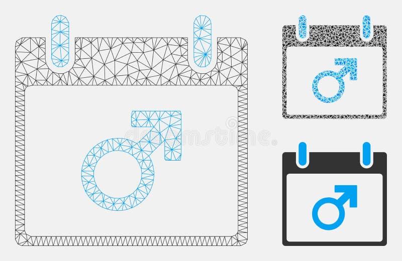 Vecteur masculin Mesh Wire Frame Model de jour civil de symbole de Mars et icône de mosaïque de triangle illustration de vecteur