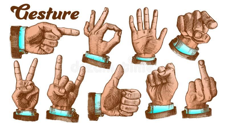 Vecteur masculin multiple d'ensemble de geste de main de couleur illustration de vecteur