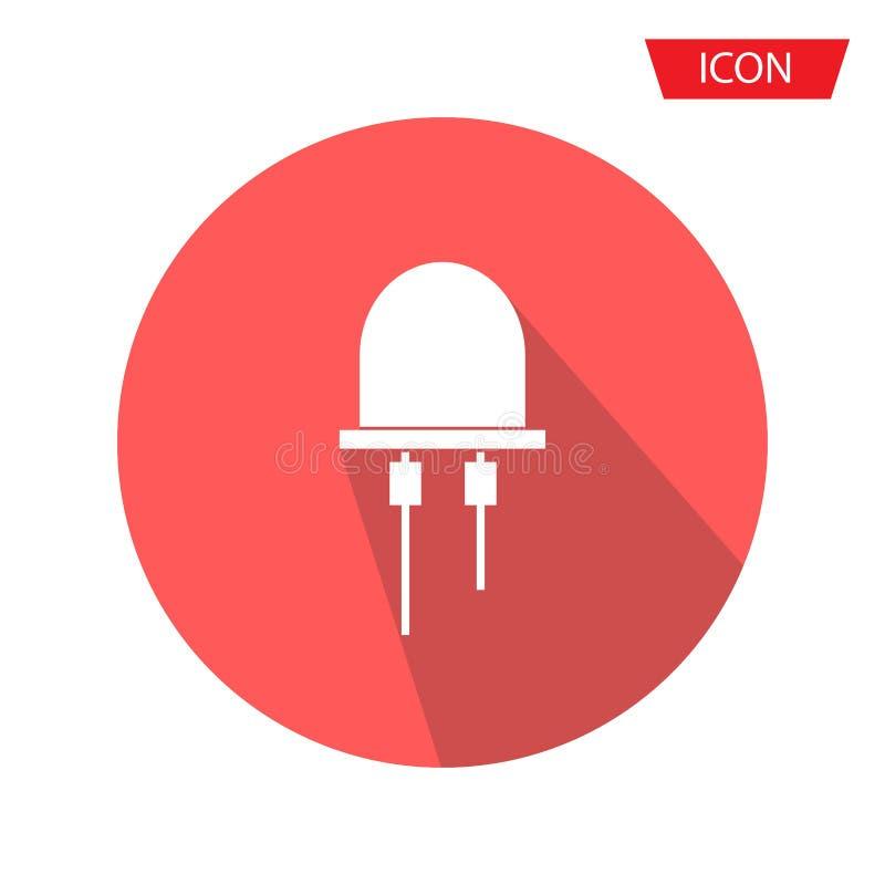 Vecteur mené d'icône, vecteur d'icône de diode électroluminescente d'isolement sur le fond illustration libre de droits