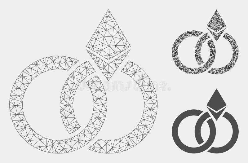 Vecteur Mesh Carcass Model d'anneaux de mariage d'Ethereum et icône de mosaïque de triangle illustration libre de droits