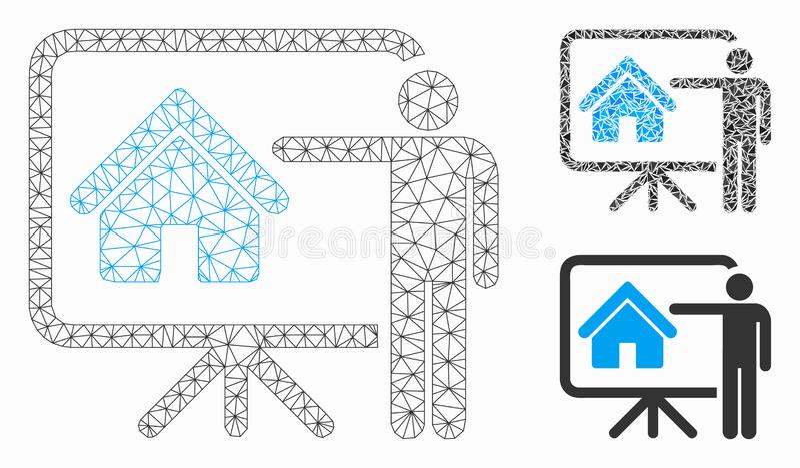 Vecteur Mesh Carcass Model de conseil de présentation d'agent immobilier et icône de mosaïque de triangle illustration de vecteur