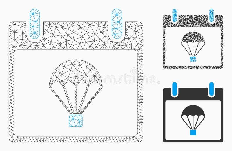 Vecteur Mesh Carcass Model de jour civil de parachute et icône de mosaïque de triangle illustration stock
