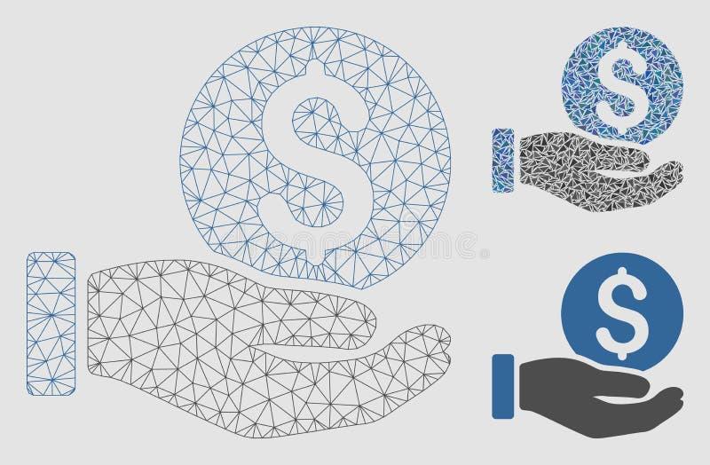 Vecteur Mesh Carcass Model de main de paiement de pièce de monnaie du dollar et icône de mosaïque de triangle illustration de vecteur