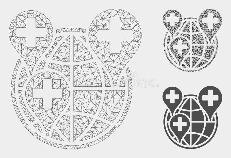 Vecteur Mesh Carcass Model de marqueurs de réseau global d'hôpital et icône de mosaïque de triangle illustration stock