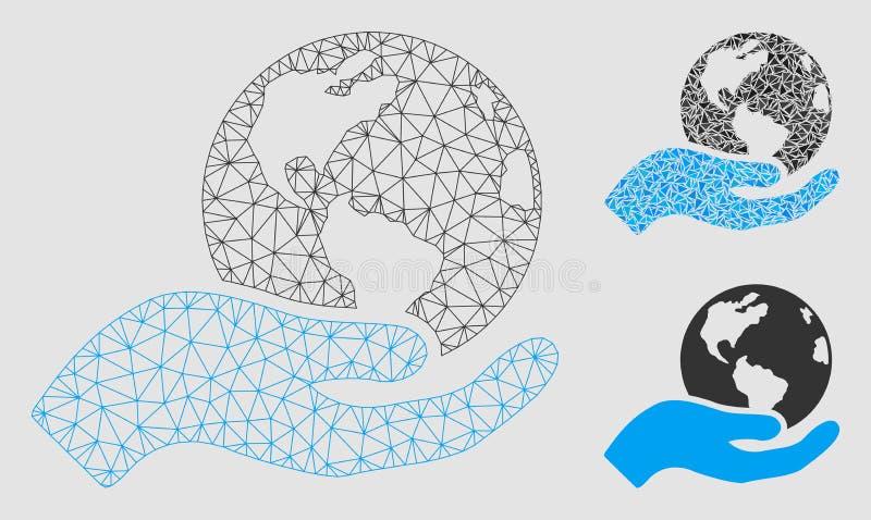 Vecteur Mesh Carcass Model de soin de la terre et icône de mosaïque de triangle illustration de vecteur