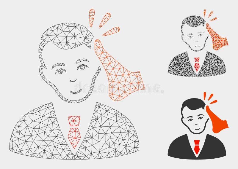 Vecteur Mesh Carcass Model de victime de Kickboxer et icône de mosaïque de triangle illustration stock