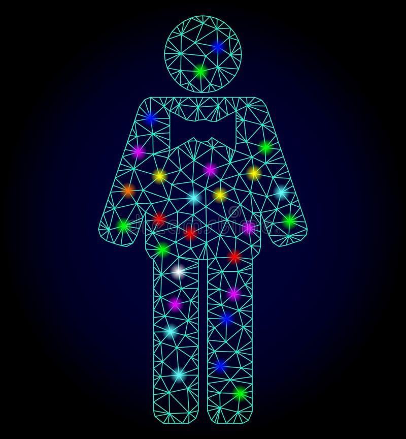 Vecteur Mesh Groom polygonal avec les taches lumineuses pour Chistmas illustration de vecteur