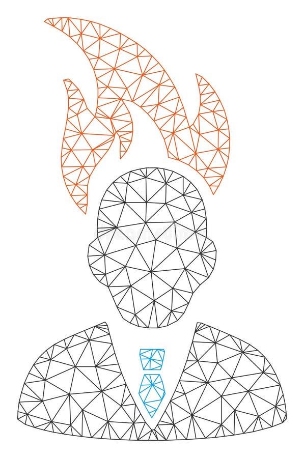 Vecteur Mesh Illustration de Head Polygonal Frame d'homme d'affaires de brûlure illustration libre de droits
