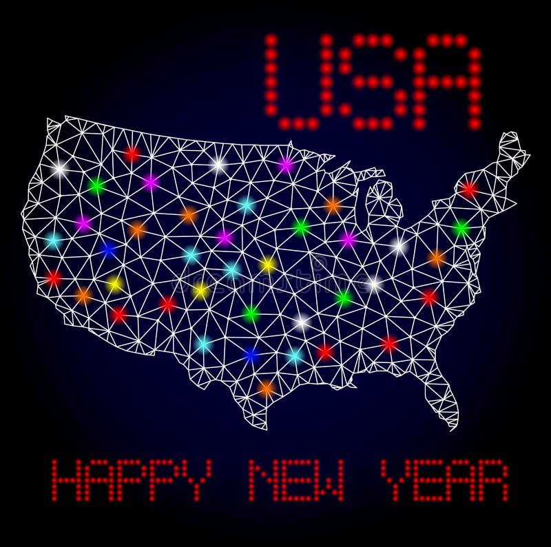 Vecteur Mesh Map polygonal des Etats-Unis avec les taches rougeoyantes pour Noël illustration stock