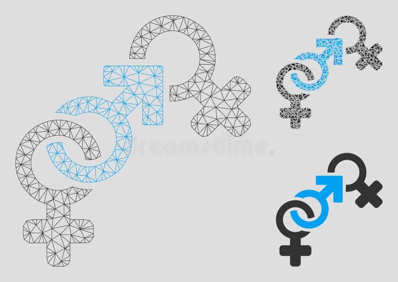 Vecteur Mesh Network Model d'infraction de foi et icône de mosaïque de triangle illustration stock