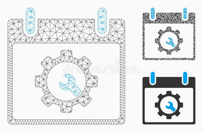 Vecteur Mesh Network Model de jour civil d'outils d'options et icône de mosaïque de triangle illustration stock