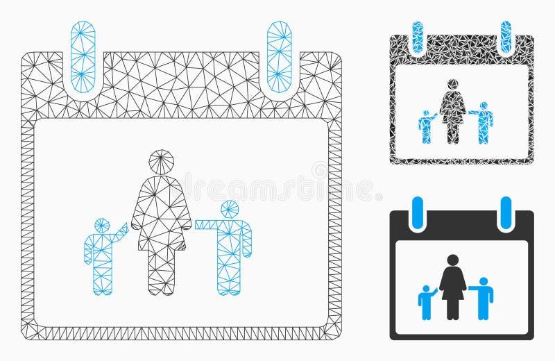 Vecteur Mesh Network Model de jour civil de mère et icône de mosaïque de triangle illustration libre de droits