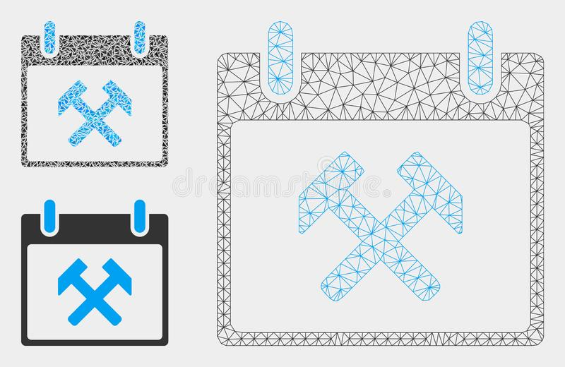 Vecteur Mesh Network Model de jour civil de marteaux et icône de mosaïque de triangle illustration libre de droits