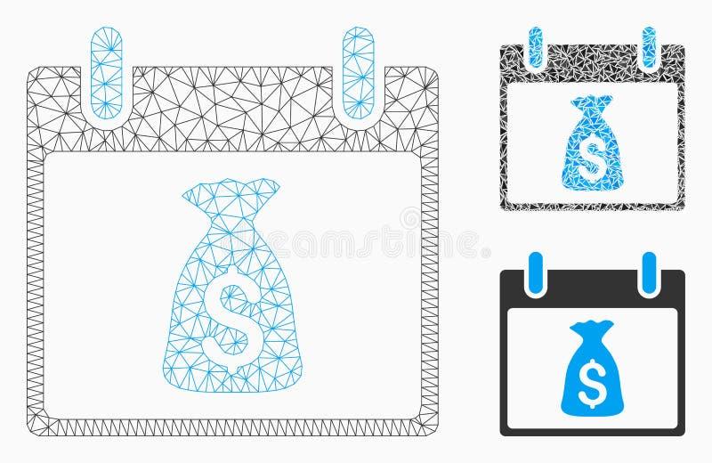 Vecteur Mesh Network Model de jour civil de sac d'argent et icône de mosaïque de triangle illustration libre de droits