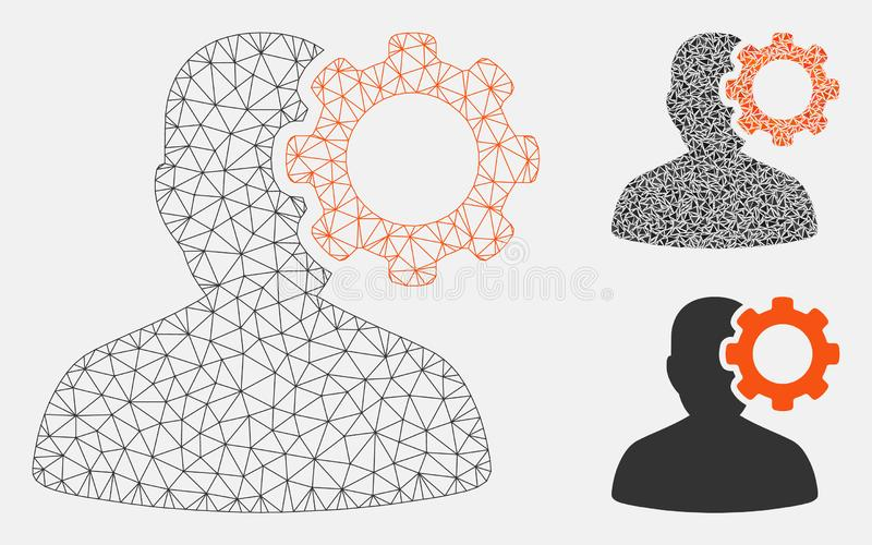 Vecteur Mesh Network Model de migraine et icône de mosaïque de triangle illustration stock