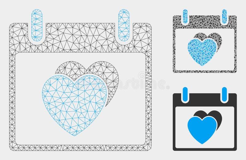 Vecteur Mesh Wire Frame Model de jour civil de coeurs et icône de mosaïque de triangle illustration libre de droits