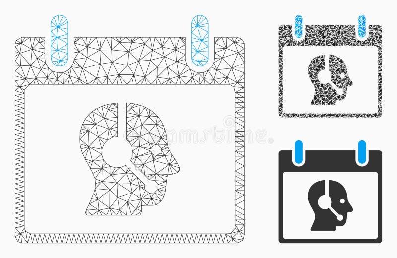 Vecteur Mesh Wire Frame Model de jour civil d'opérateur et icône de mosaïque de triangle illustration stock