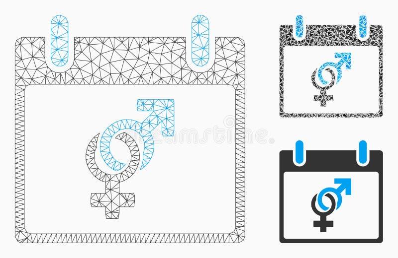 Vecteur Mesh Wire Frame Model de jour civil de mariage et icône de mosaïque de triangle illustration de vecteur