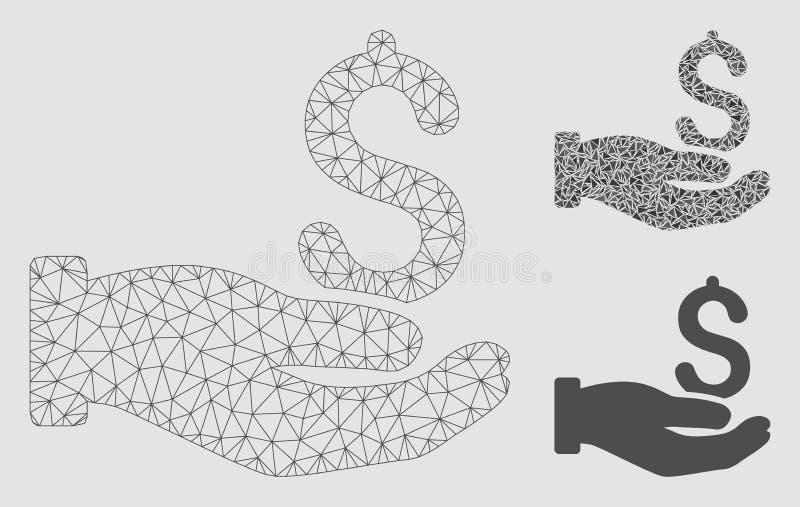 Vecteur Mesh Wire Frame Model de main de donation du dollar et icône de mosaïque de triangle illustration de vecteur