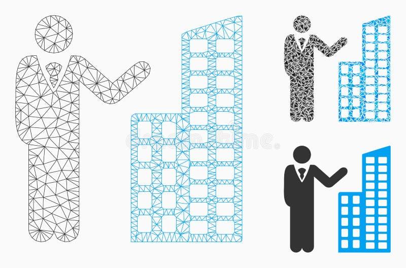 Vecteur Mesh Wire Frame Model de présentation de bureau et icône de mosaïque de triangle illustration libre de droits