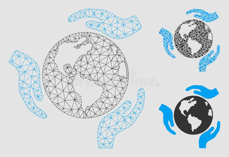 Vecteur Mesh Wire Frame Model de protection de la terre et icône de mosaïque de triangle illustration libre de droits