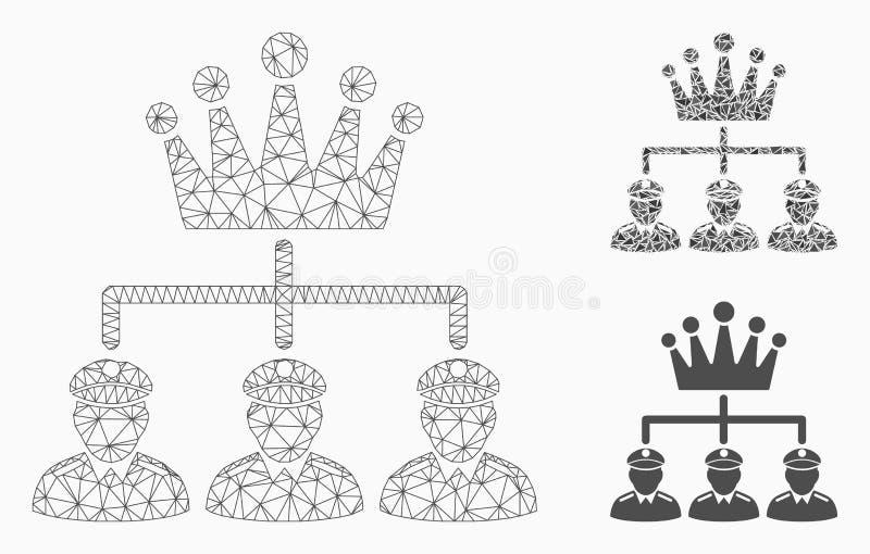 Vecteur Mesh Wire Frame Model de structure de monarchie et icône de mosaïque de triangle illustration libre de droits