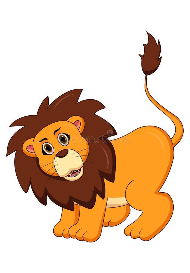 Vecteur mignon d'actions de bande dessinée de lion illustration stock