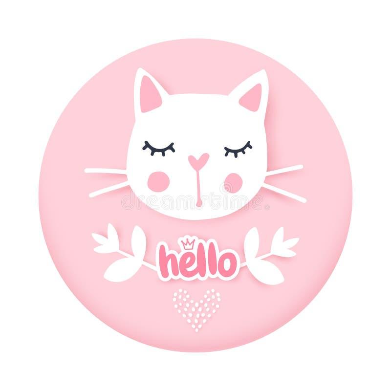 vecteur mignon d'illustration de chat Carte de voeux Girly de chatons Visage du ` s de chat de mode illustration libre de droits