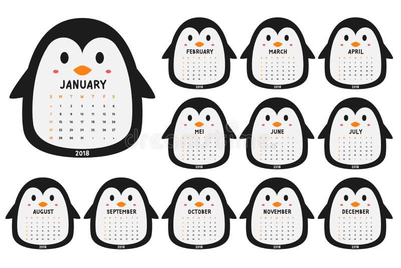 Vecteur mignon de bande dessinée de calibre de calendrier du pingouin 2018 illustration de vecteur