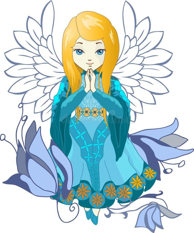 Vecteur mignon de bande dessinée d'ange de Praing illustration stock