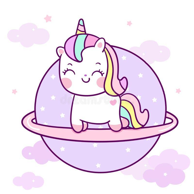 Vecteur mignon de licorne sur la couleur en pastel de bande dessinée de poney de Kawaii de ciel avec l'étoile et le nuage, décora illustration stock