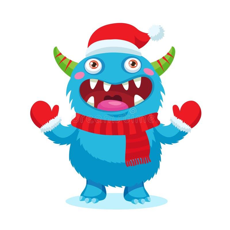 Vecteur mignon de monstre de Noël Mascotte de bande dessinée de vacances Bon pour la carte de Noël, bannière illustration stock