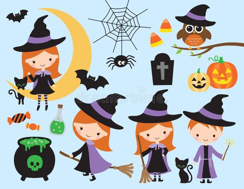 Vecteur mignon de sorcière et de magicien de Halloween illustration libre de droits