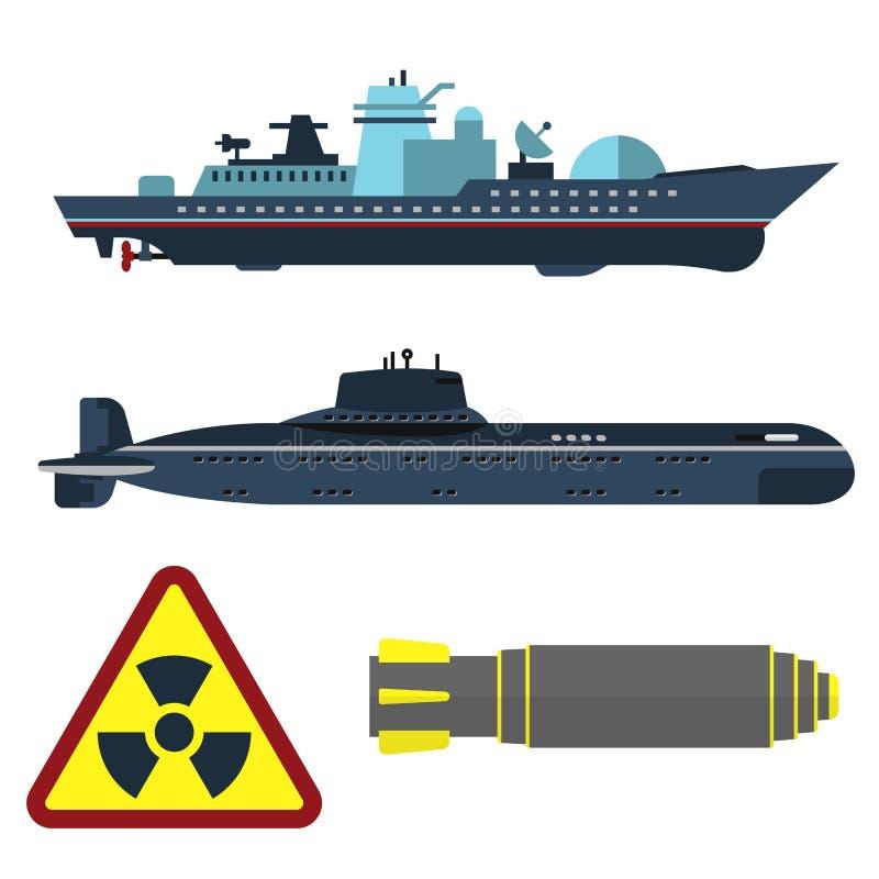 Vecteur militaire de conflit de combat de la défense de bateau de guerre d'armée de technique et d'armure de technique d'industri illustration stock