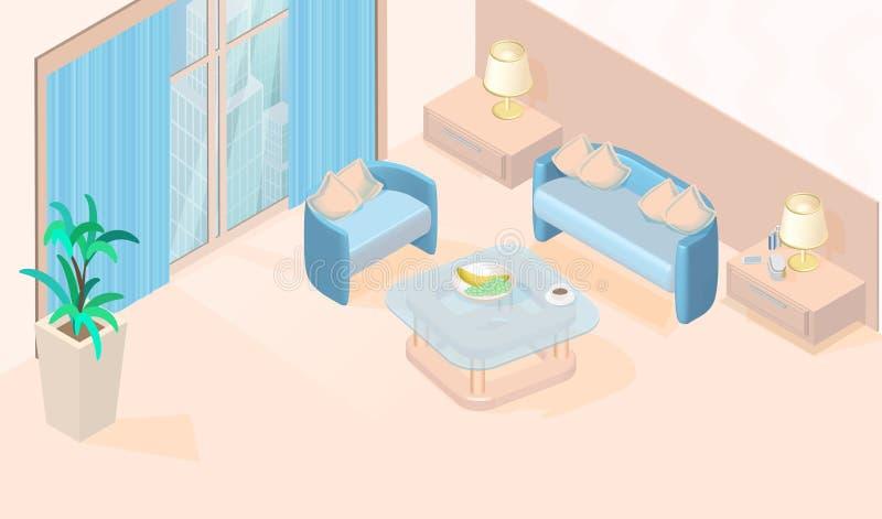 Vecteur minimal moderne confortable de salon isométrique illustration stock