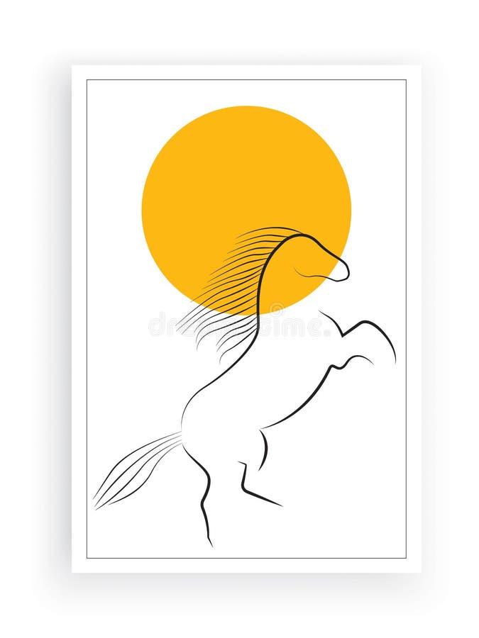Vecteur minimaliste de silhouette de cheval, conception d'affiche d'isolement sur le fond blanc, décalques de mur, illustration d illustration libre de droits