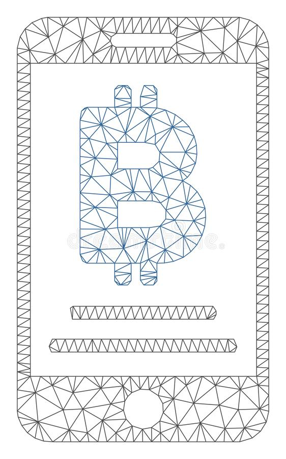 Vecteur mobile Mesh Wire Frame Model de paiement de baht illustration stock