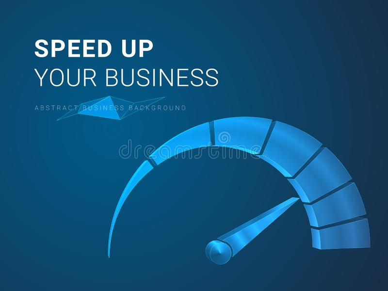 Vecteur moderne abstrait de fond d'affaires dépeignant accélérant des affaires dans la forme d'un tachymètre sur le fond bleu illustration de vecteur