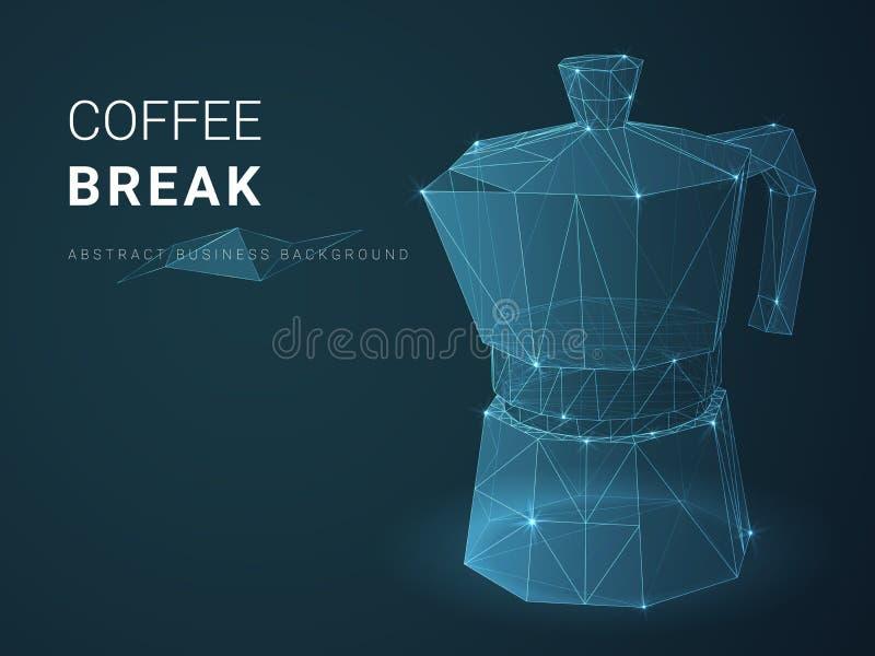 Vecteur moderne abstrait de fond d'affaires dépeignant la coupure de cofee avec des étoiles et des lignes dans la forme d'un pot  illustration de vecteur