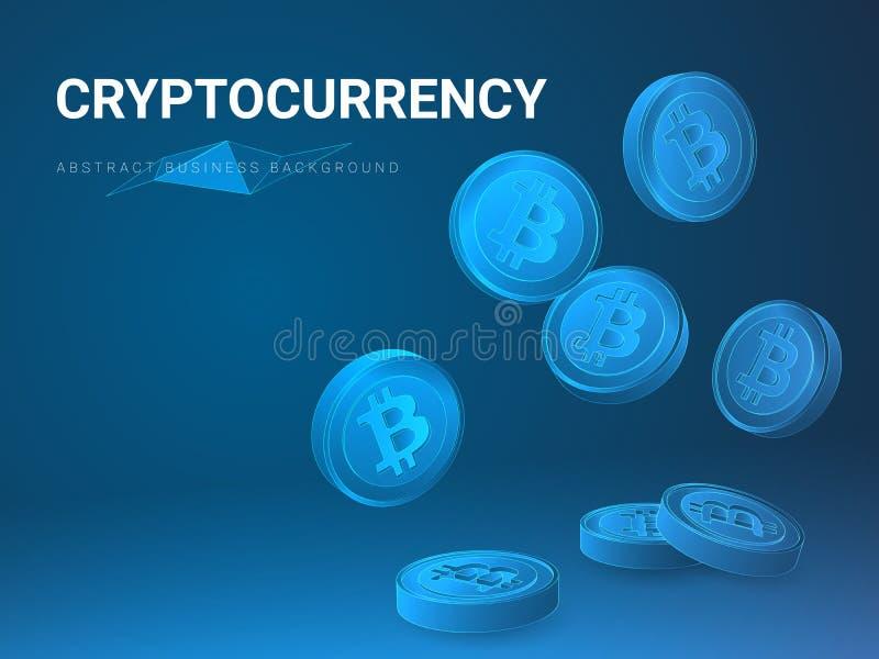Vecteur moderne abstrait de fond d'affaires dépeignant la forme de péché de cryptocurrency des bitcoins en baisse sur le fond ble illustration libre de droits