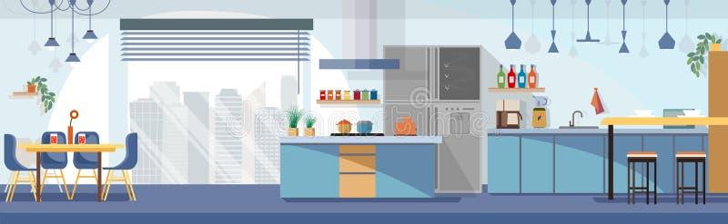 Vecteur moderne de bande dessinée de conception intérieure de cuisine illustration stock