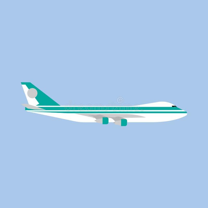 Vecteur moderne de vue de côté de véhicule de voyage de transport d'avion Ic?ne plate d'avion d'affaires d'air illustration de vecteur