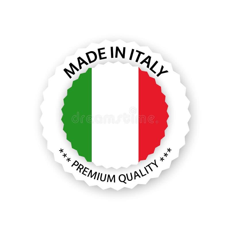 Vecteur moderne fait dans le label de l'Italie d'isolement sur le fond blanc, autocollant simple avec des couleurs italiennes, co illustration de vecteur