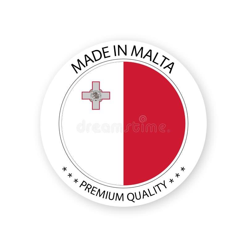 Vecteur moderne fait dans le label de Malte d'isolement sur le fond blanc illustration libre de droits