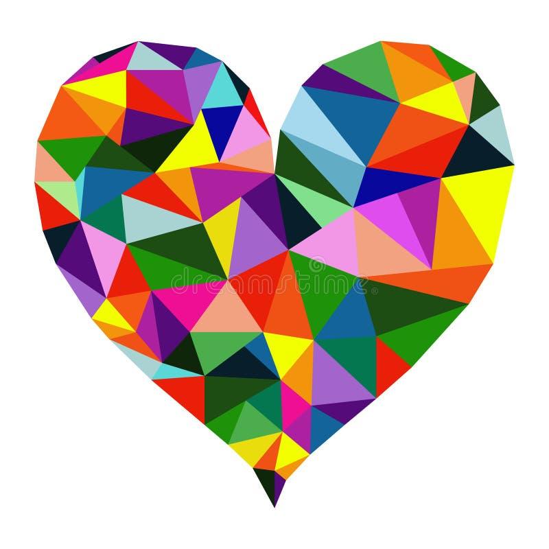 Vecteur multicolore polygonal de coeur illustration stock
